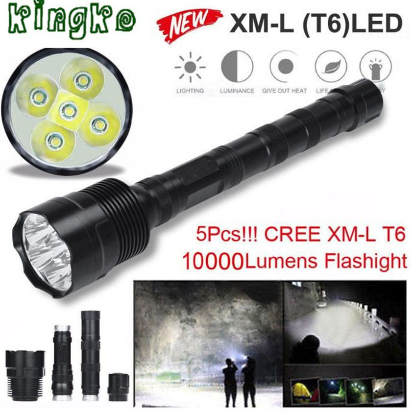 High Quality Tactical 10000 Lumen 5 X Xml T6 Led Flashlight Torch Light 5 Modes 18650 Hunting1 20 Bright Led Flashlight Super Bright Flashlight Led Flashlight