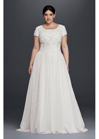 Modest Short Sleeve Plus Size A Line Wedding Dress David S Bridal Davids Bridal Wedding Dresses Wedding Dresses Plus Size Wedding Dress Styles