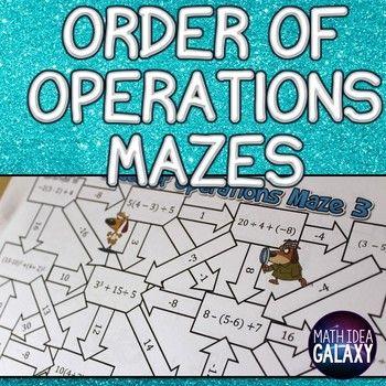 Order of Operations Activity | Negative integers, Distributive ...