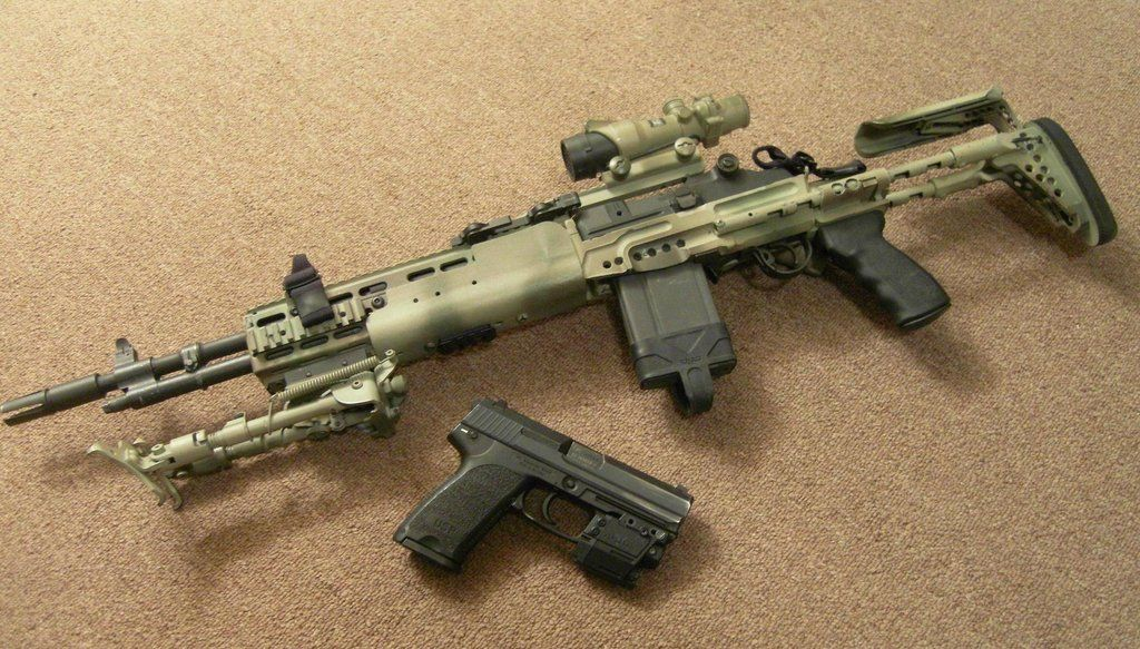 m14 in a sage chassis and an HK pistol  I like that combination