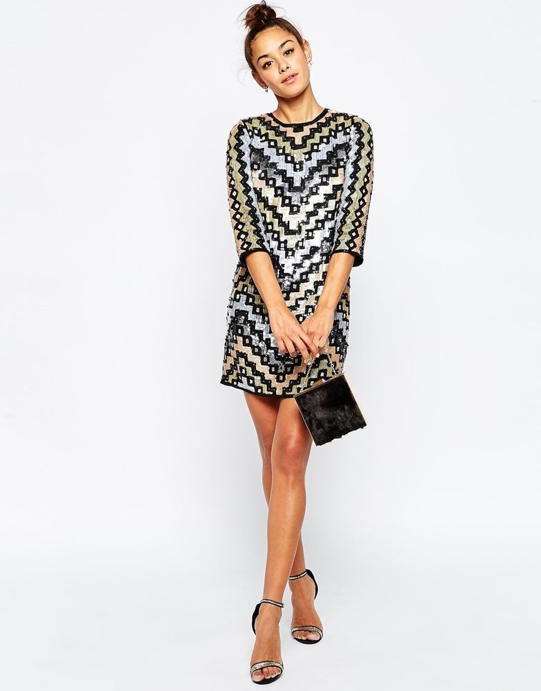 a07f447c401 ASOS Geo Sequin Mini Shift Evening Dress with Open Back UK 10 EU 38 US 6