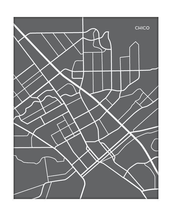 Chico Map Art City Print California State University Poster