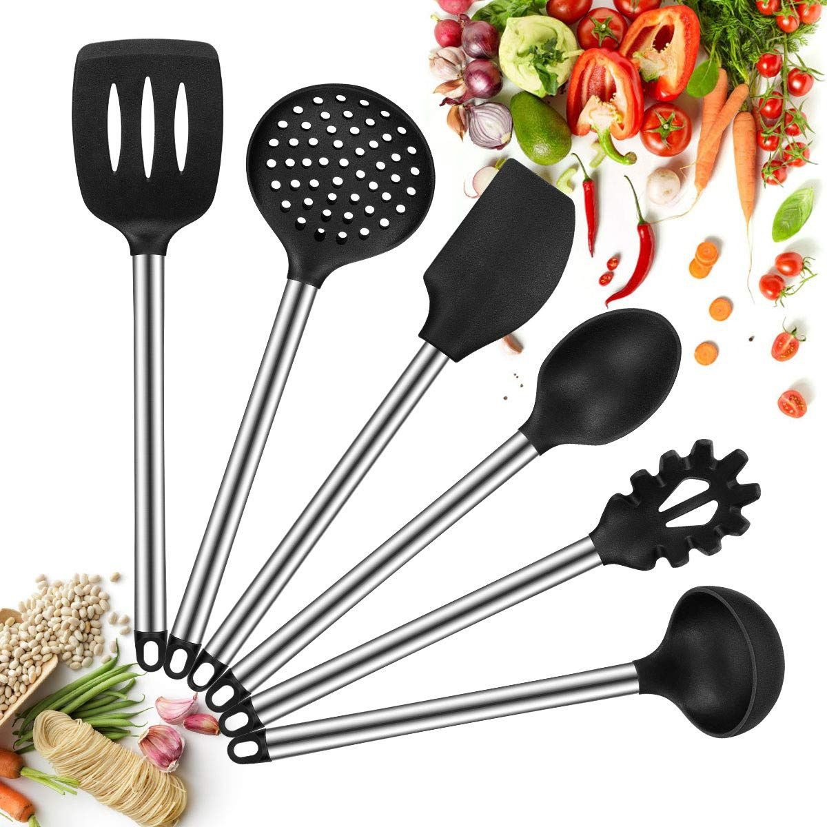 Silicone Kitchen Utensils Set 6 Piece Cooking Utensil Non Stick