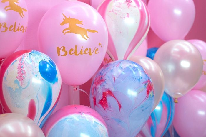 Balloon backdrop from a Unicorns are Real Birthday Party on