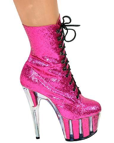 d6f26a36d4b Hot Pink Glitter Ankle Boot-7 Inch Heels-Stripper Boots | polepourri ...