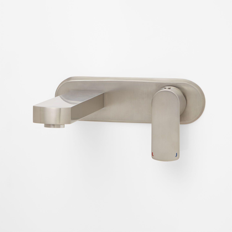 altus wall mount bathroom faucet no overflow brushed nickel