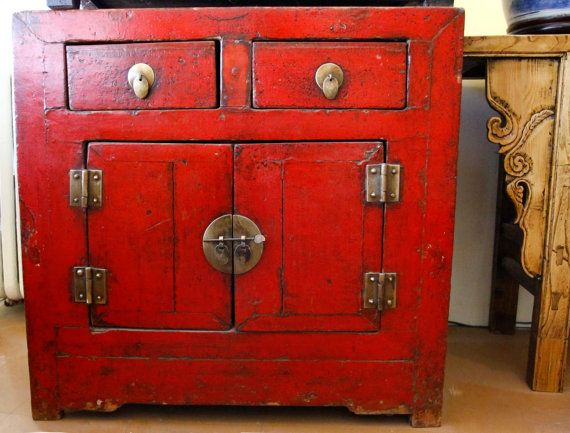 NEW PRICE Antique Red Lacquer Cabinet Vintage Chinese Wood Cabinet