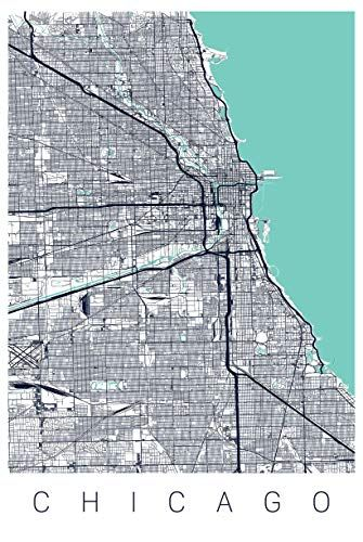 Chicago Map Art Print Map of Chicago Illinois Series II Art