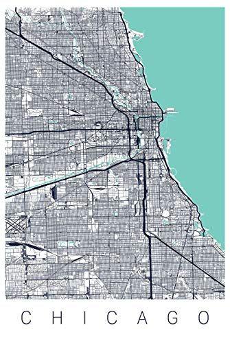 Chicago Map Art Print Map of Chicago Illinois Series II Art