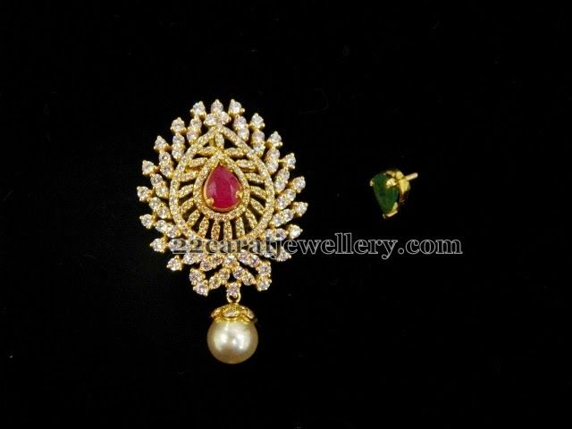 Jewellery Designs: Changeable Stones CZ Maang Tikka