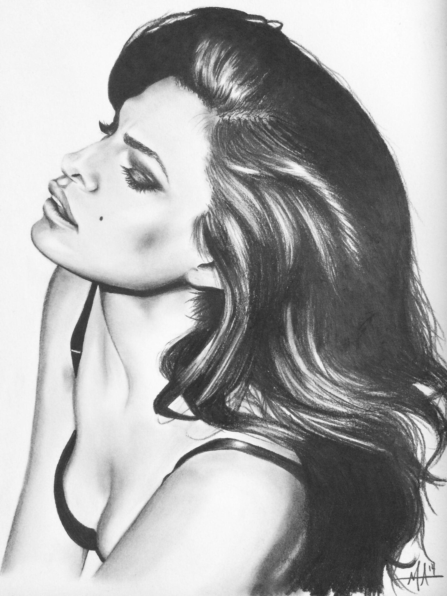 Eva mendes drawing Drawing of beautiful model rockabilly retro 50 s