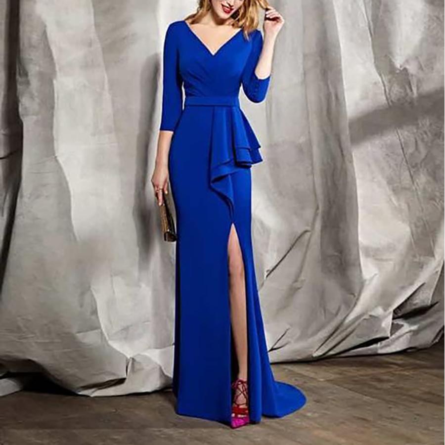 Sexy Deep V Collar Plain Slim Flouncing Irregular Evening Dress
