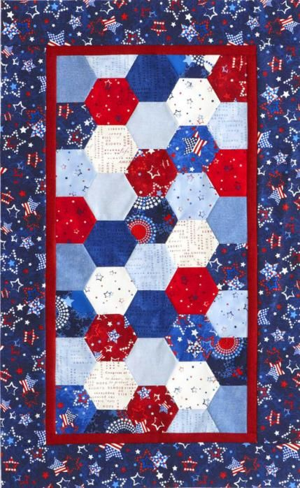 Patriotic Hexagons Table Runner  I HAVE A PRECUT HEXAGON PACK JUST WAITING TO BE SEWN TOGETHER.