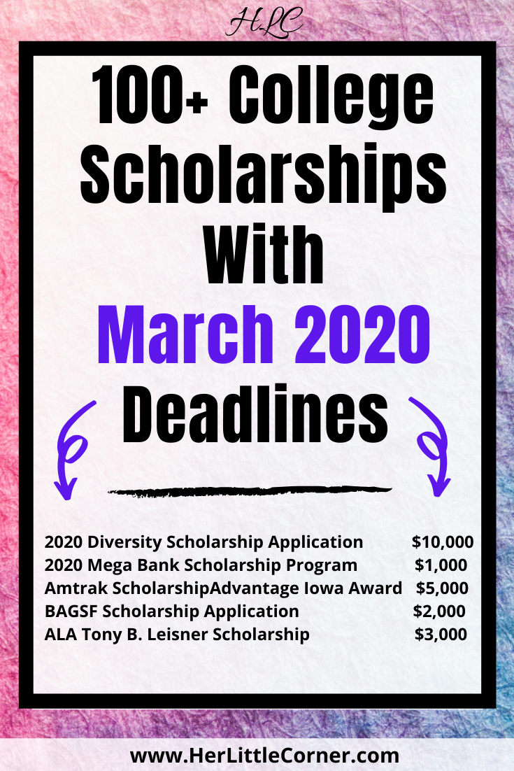 Over 100 College Scholarship To Apply For In March 2020 Her Little Corner Application 2000 No Essay Niche Winner Legit