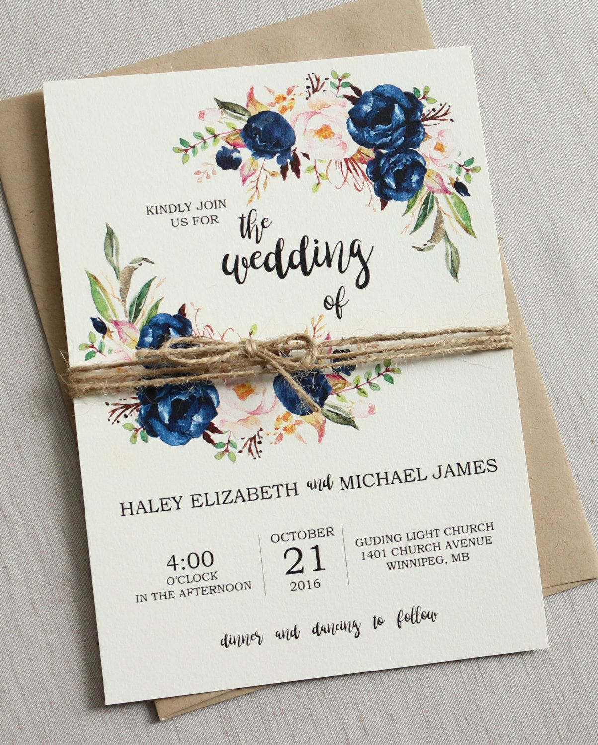 Rustic Navy Wedding Invitation Suite Modern Bohemian Wedding