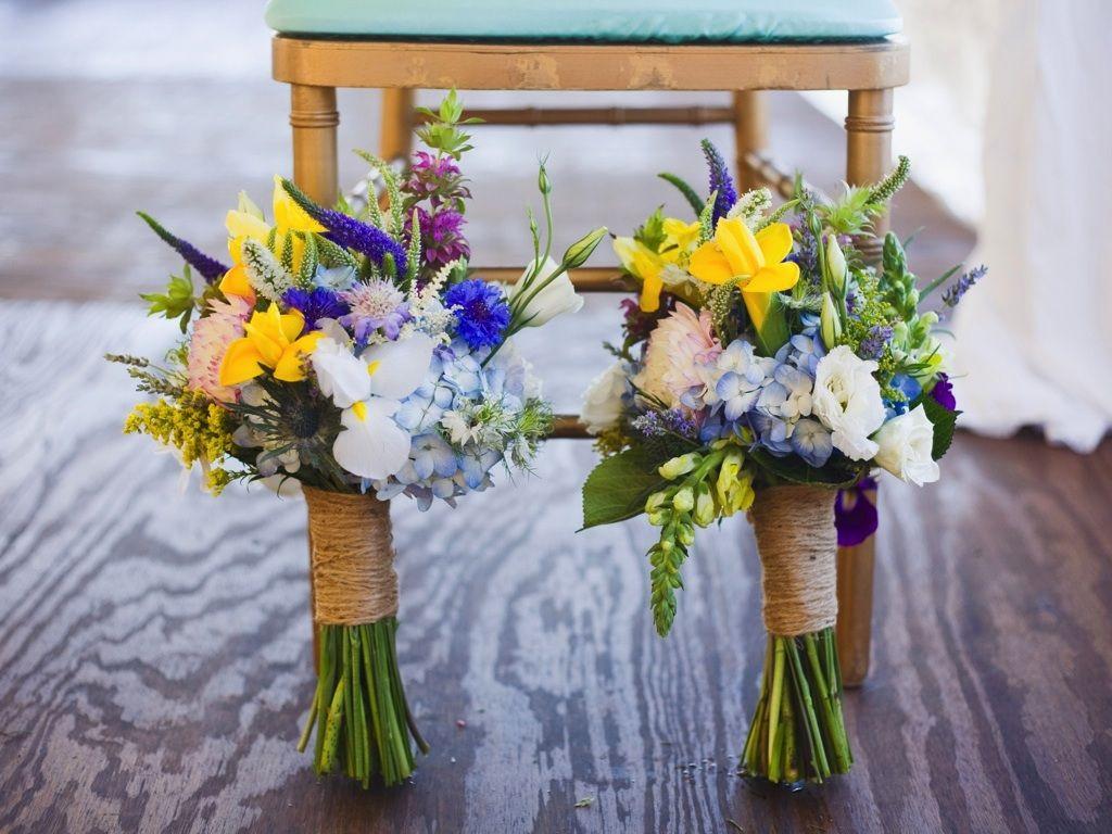 Yellow Blue Purple White Wildflower Wedding Bouquet Destination Park