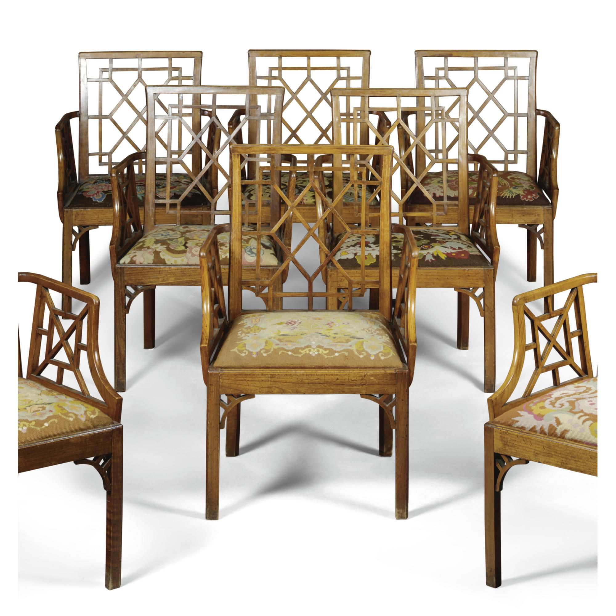 A set of eight George III fruitwood armchairs circa 1760 in Chinese