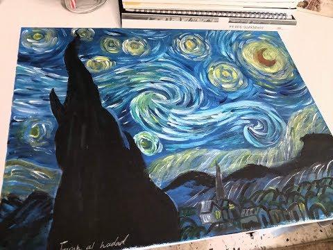 3 رسم لوحة ليلة النجوم للفنان الهولندي Van Gogh بالوان الاكريليك Youtube Love Illustration Art Art Painting
