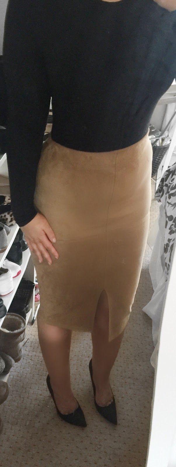 Black Body and Camel Skirt