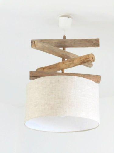 lustre suspension plafonnier bois flotte lin 35 cm. Black Bedroom Furniture Sets. Home Design Ideas