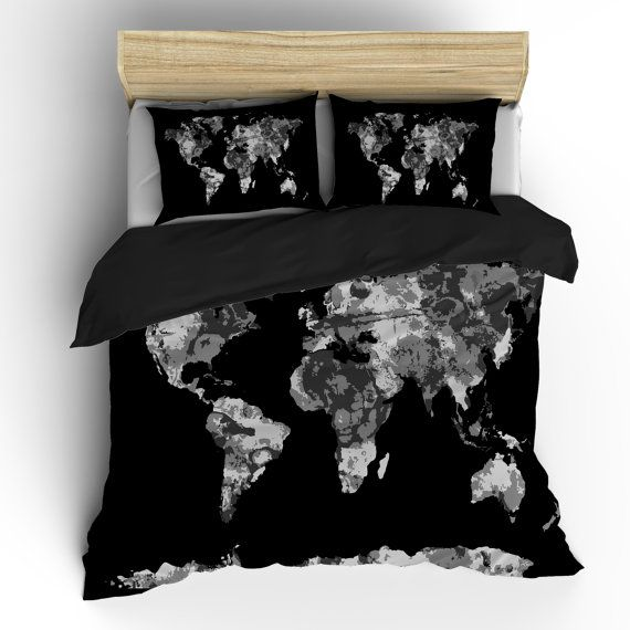 Grey world map custom bedding available toddler tw qu by redbeauty grey world map custom bedding available toddler tw qu by redbeauty it would be fun too if it was more colorful gumiabroncs Image collections
