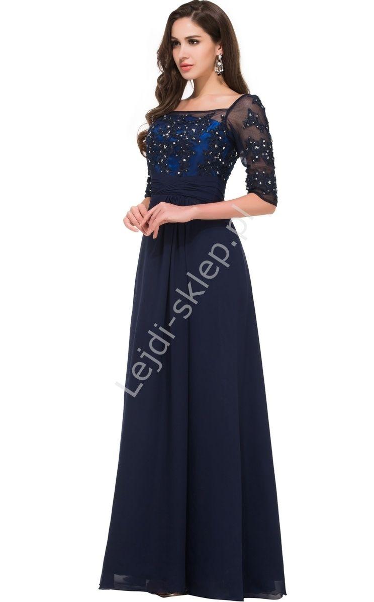5145ab3e3f Granatowa suknia wieczorowa z rękawkiem 3 4 z gipiurą