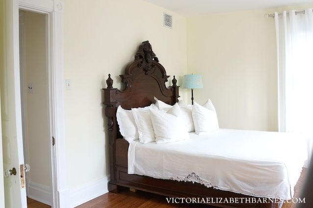We got this fantastic antique bed on craigslist but it s only a full size… see how we retrofitted it to ac modate our queen size mattres