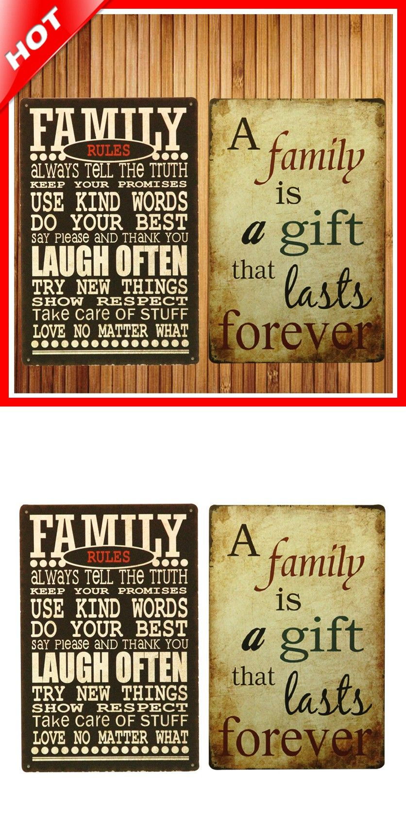 Hot Family Rules Set Chic Home Bar Vintage Metal Signs Home Decor Vintage  Tin Signs Pub