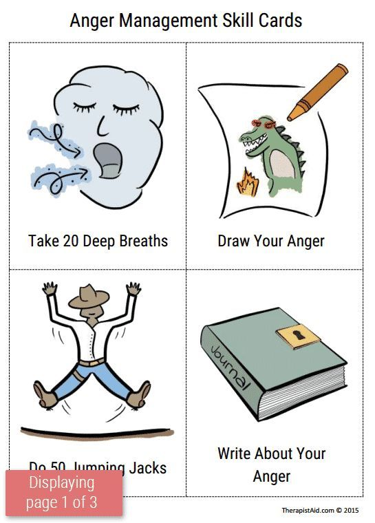 Anger Management Skill Cards (Worksheet | Therapy workbooks and