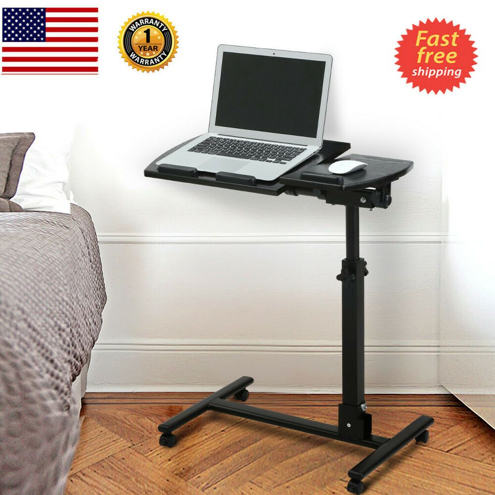 Portable 360 Swivel Rolling Mobile Laptop Desk Cart Adjustable Computer Table Affilink With Images Adjustable Computer Table Office Computer Desk Ergonomic Computer Desk