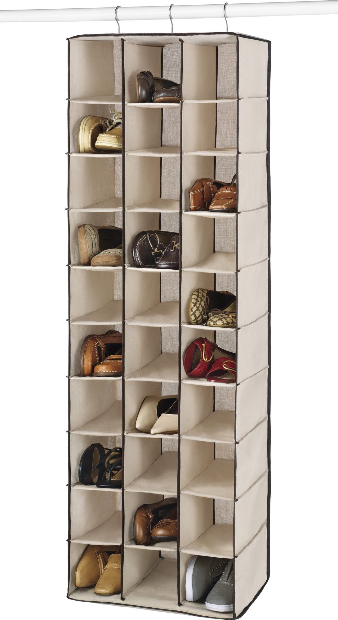 Features Material 80 Cotton Thirty Roomy Shoe Shelves Primary Material Fabric Metal Finish Beige Hanging Shoe Rack Shoe Shelves Diy Shoe Rack
