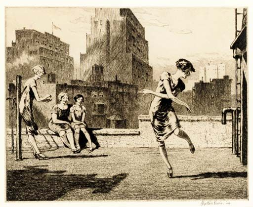 'Charleston Practice--Lunch Hour', 1926 (etching) - Martin Lewis