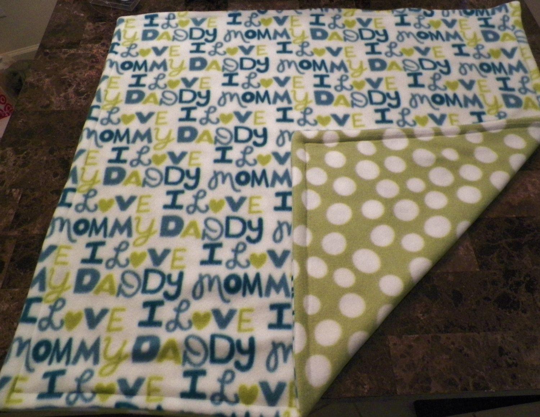 I Love Mommy I Love Daddy Fleece Baby Blanket. $11.00, via Etsy.
