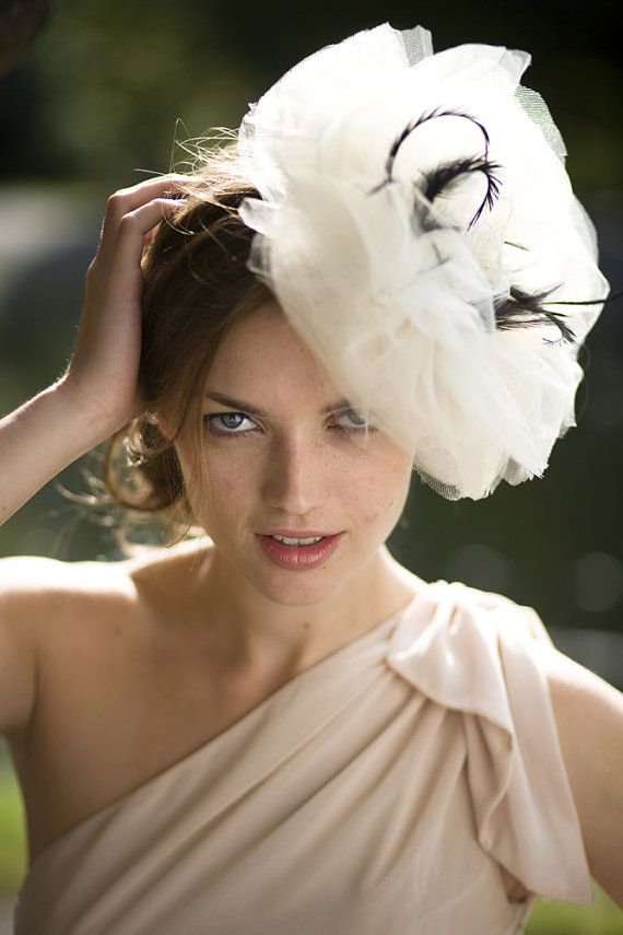 Marilyn  Beautiful Champagne Net Fascinator for by JustFasinating, £49.99