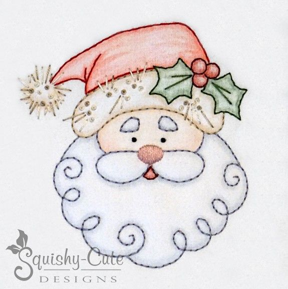 Santa hand embroidery pattern - crayon tinted - Christmas embroidery ...