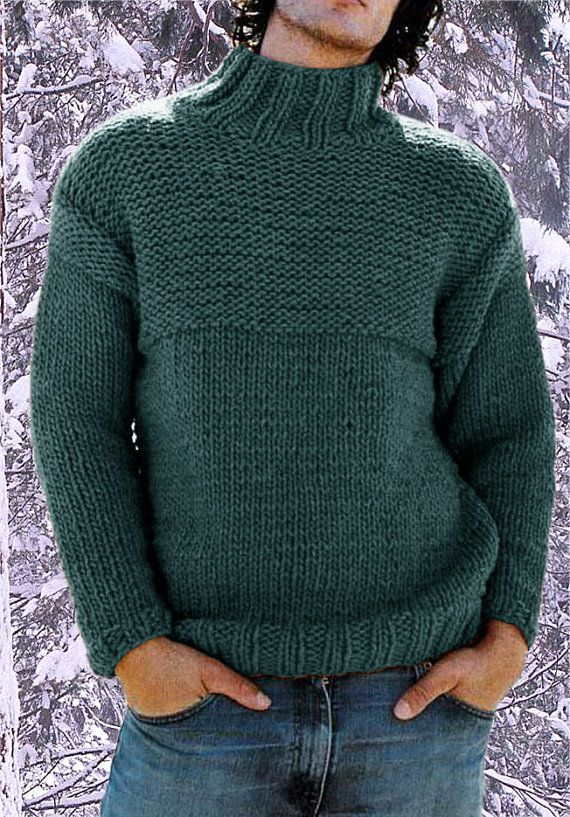 Sweater turtleneck men hand knitted made to order crewneck sweater ...