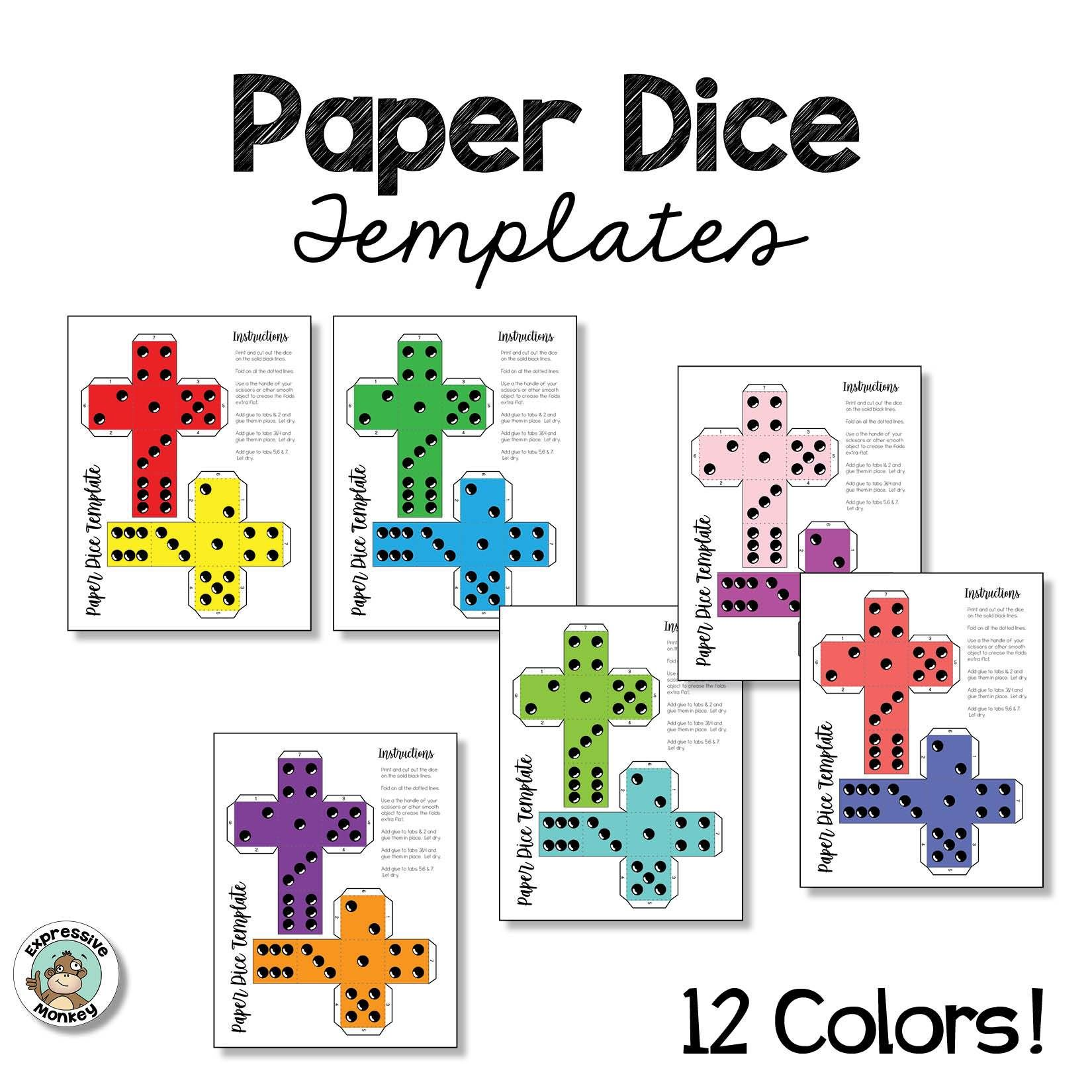 Paper Dice Templates Dice template, Art handouts, Templates