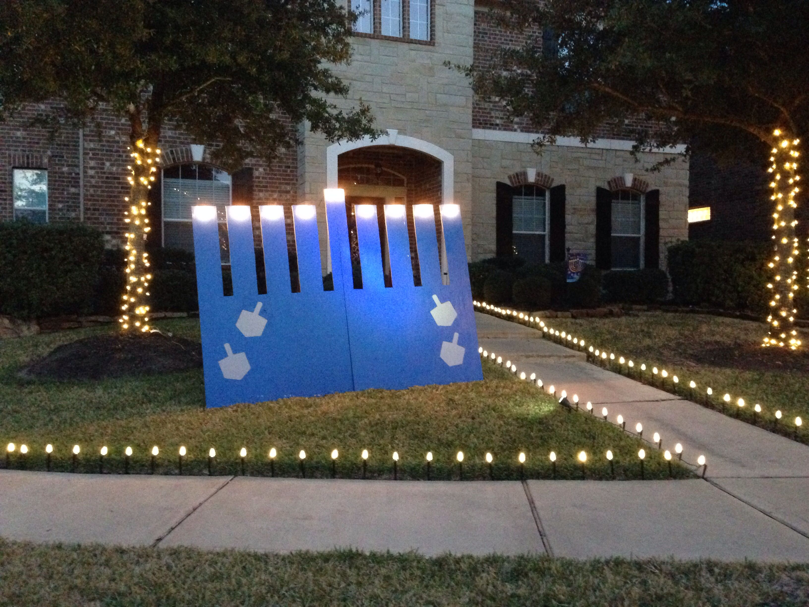 Outdoor menorah with working lights to light each night! MenorahHanukkah & Outdoor menorah with working lights to light each night! | Outdoors ...
