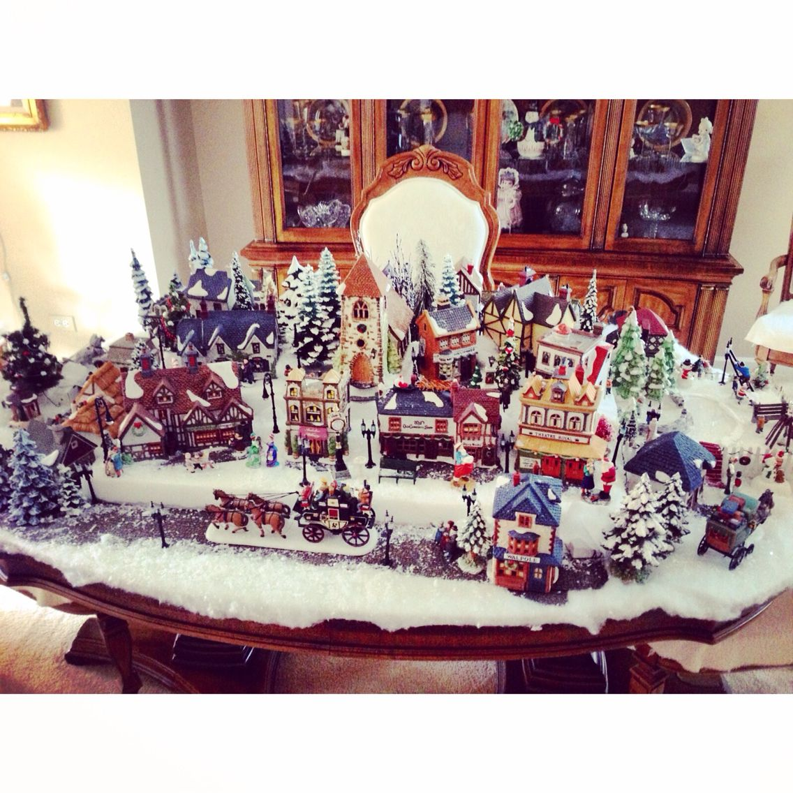 My grandmothers amazing christmas village. Took her years to get it this big//detailed!