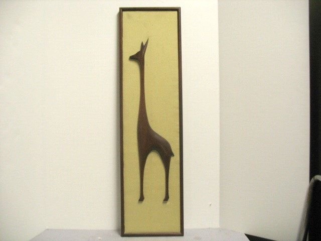 Vintage Giraffe Wood Wall Sculpture Mid Century Danish Style by ...