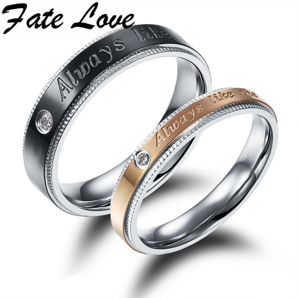 Fate Love Fashion Wedding Ring Aaa Crystal Finger Ring Black Gold
