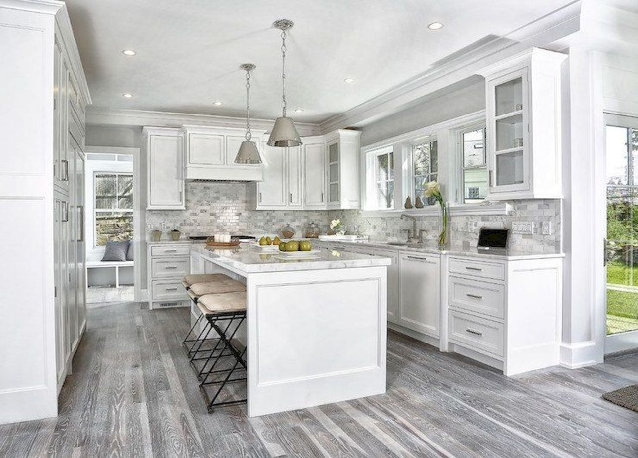 37 Beautiful White Kitchen Cabinet Design Ideas Homespecially Grey Kitchen Floor Wood Floor Kitchen Grey Wood Floors Kitchen