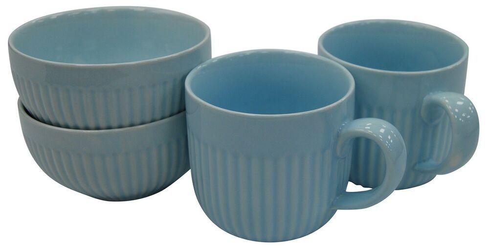 Set of 4 Jumbo Large Soup Mugs 500ml Capacity Reactive Glazed Coffee Cocoa Mug