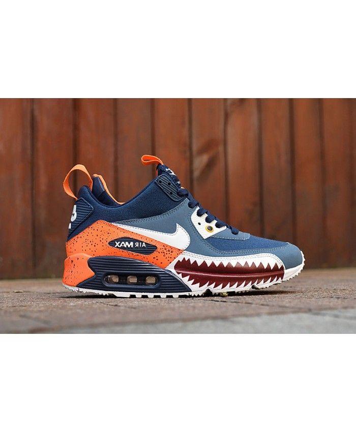 new style cf80d b5cf5 Nike Air Max 90 Mid Sneakerboot Winter Shark Teeth Blue Orange Sale  Clearance