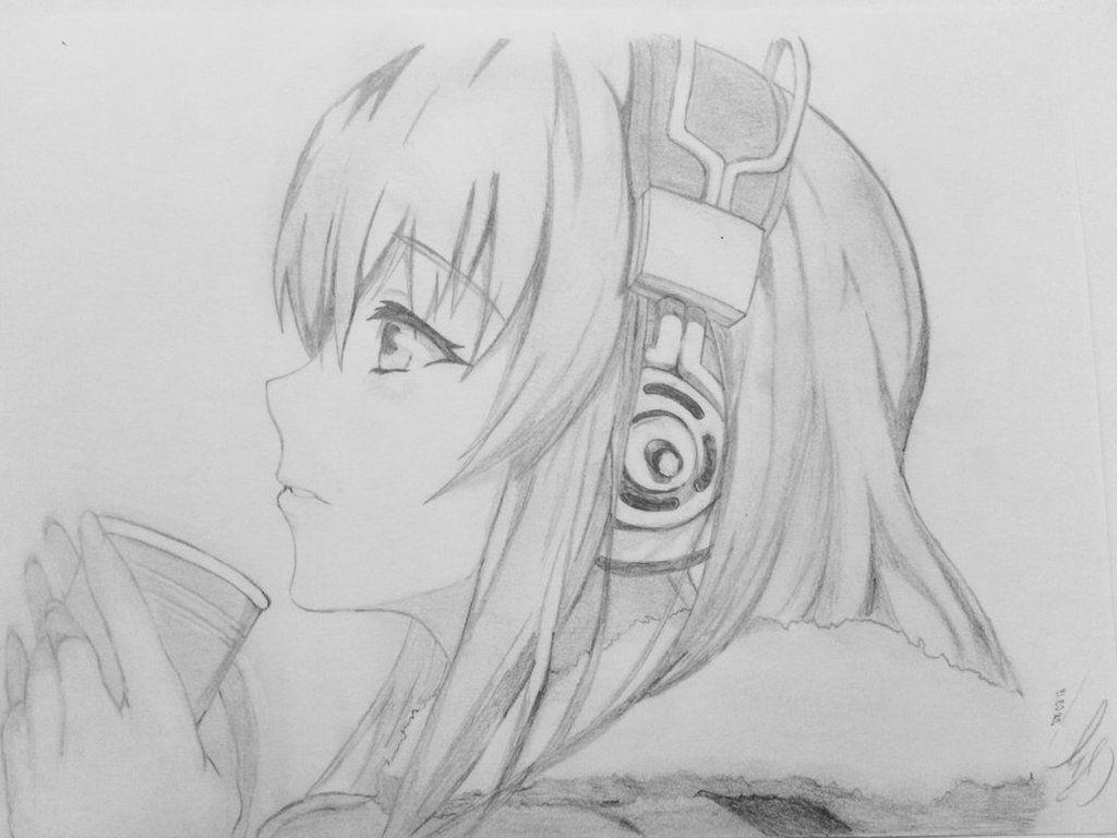 Girl drawing sketches girl sketch cute drawings music drawings anime girl drawings