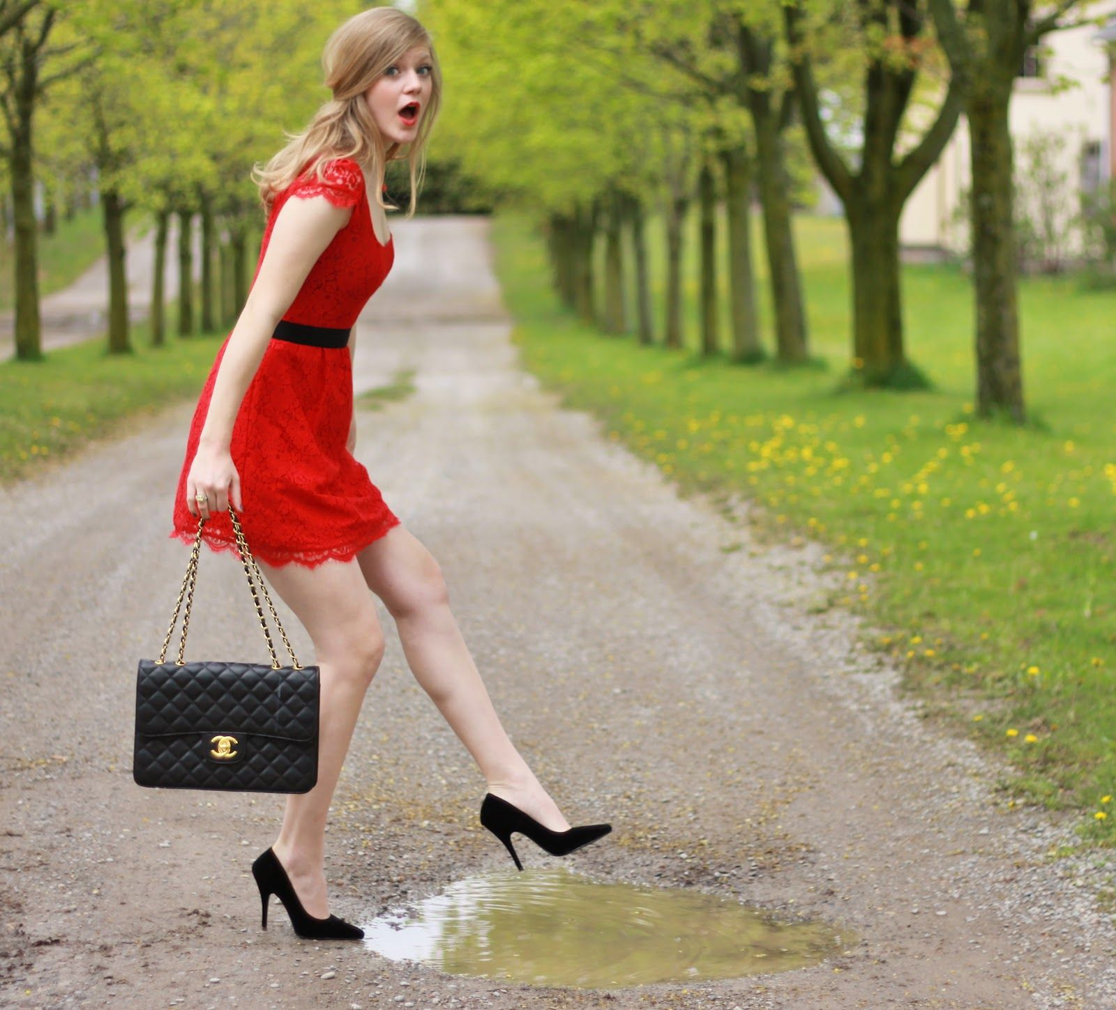 Wet_shoes (016) | Little red dress, Red lace dress, Pretty ...