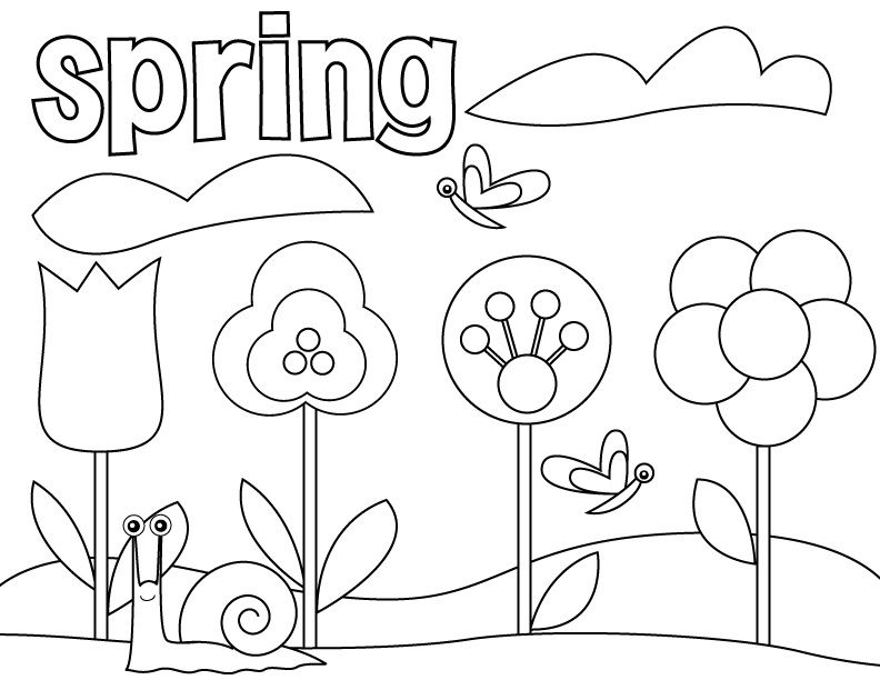 Free Printable Preschool Coloring Pages | Spring flowers, Sample ...