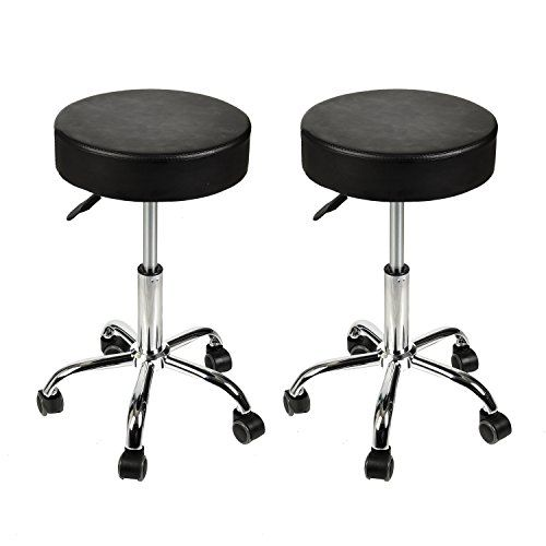 Rolling Stool Adjustable Height Hydraulic Swivel Round Chair Office