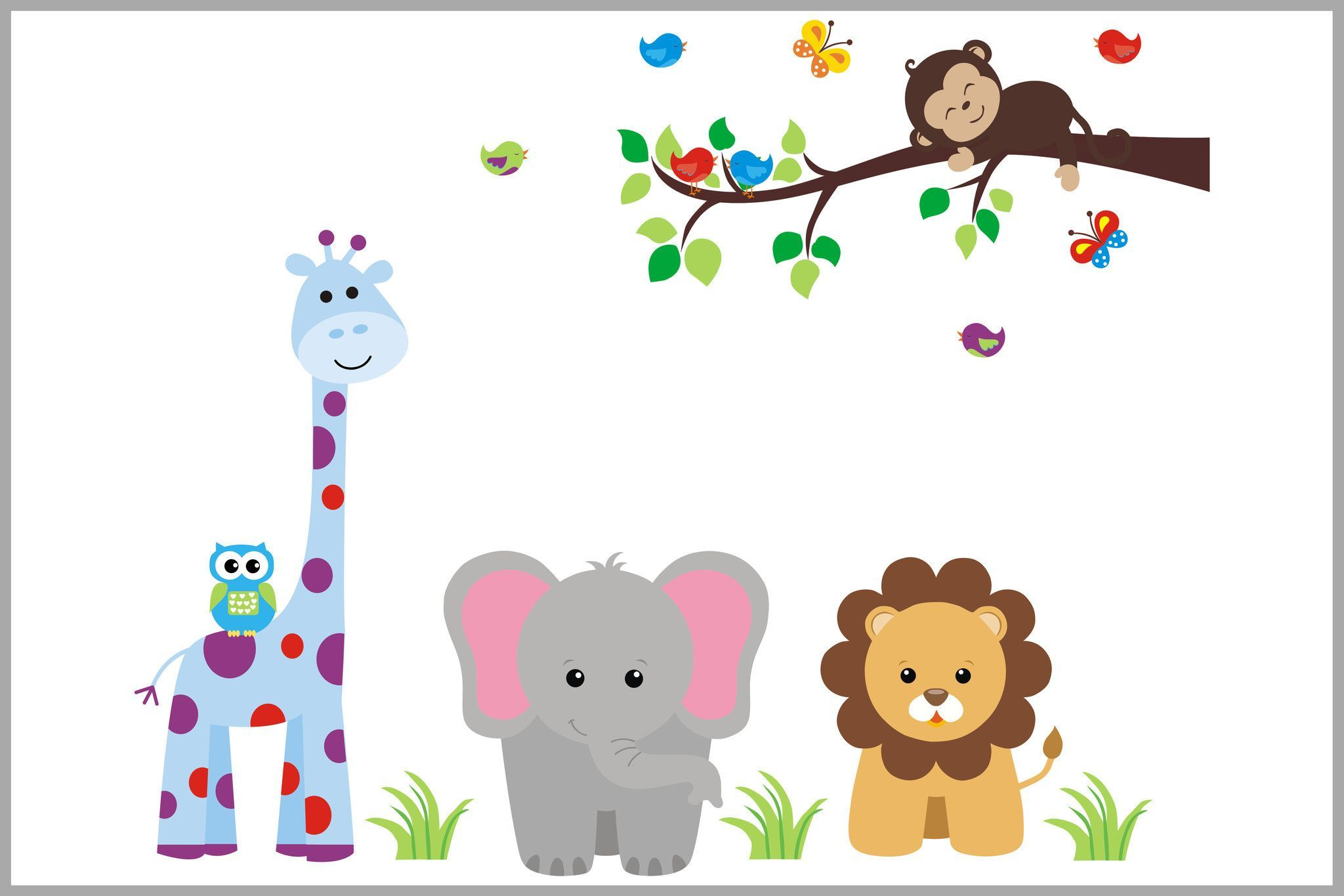 Colorful Jungle Animals with Branch - Nursery Wall Decal ...