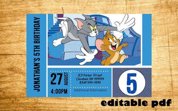 Tom And Jerry Invitation Editable Text Por Invitebuzz En